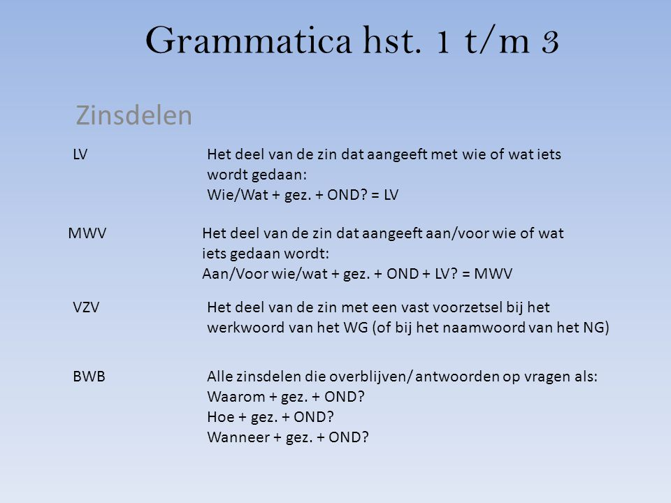 Grammatica hst. 1 t/m 3 Zinsdelen