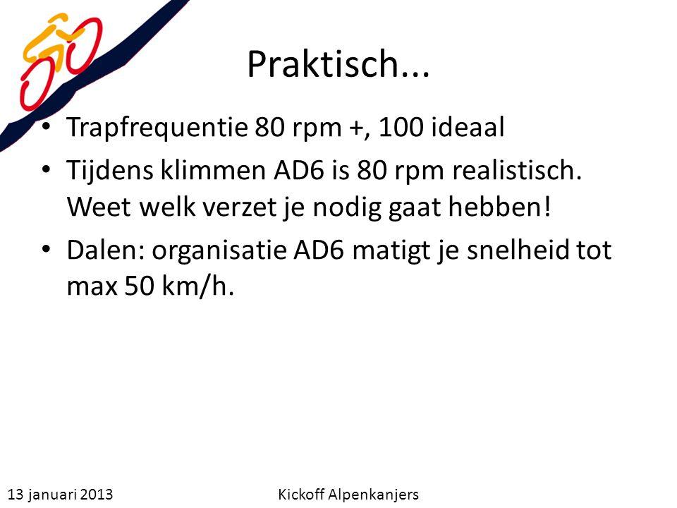 Praktisch... Trapfrequentie 80 rpm +, 100 ideaal
