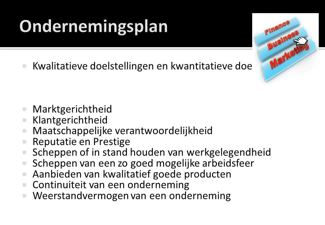 Ondernemingsplan Kwalitatieve doelstellingen en kwantitatieve doelstellingen. Marktgerichtheid. Klantgerichtheid.