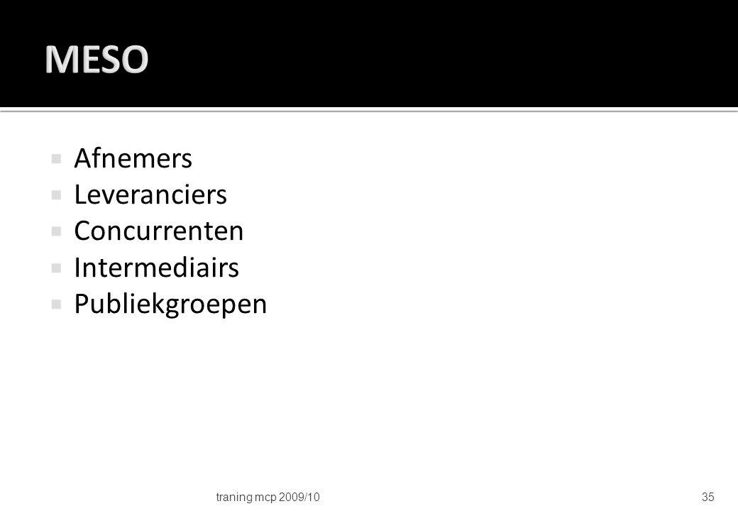 MESO Afnemers Leveranciers Concurrenten Intermediairs Publiekgroepen