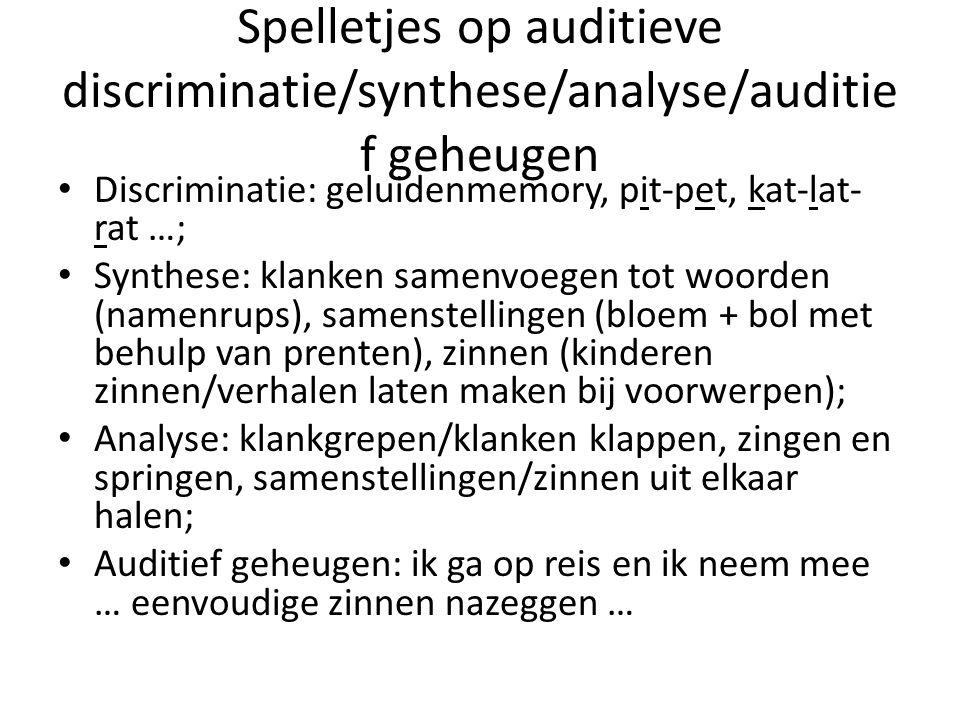 Spelletjes op auditieve discriminatie/synthese/analyse/auditief geheugen