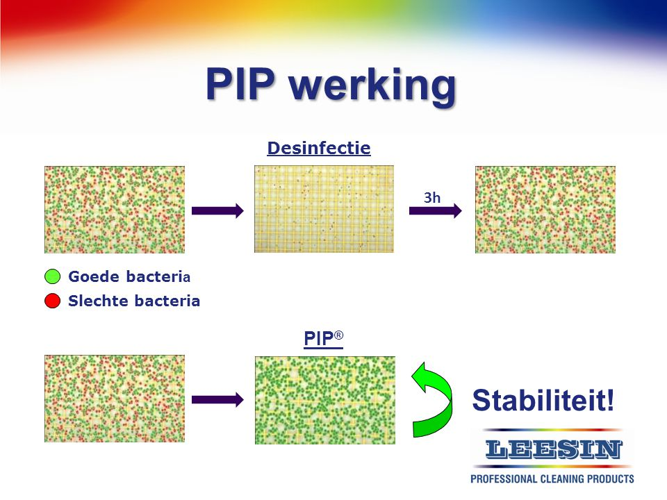 PIP werking Stabiliteit! PIP® Desinfectie 3h Goede bacteria
