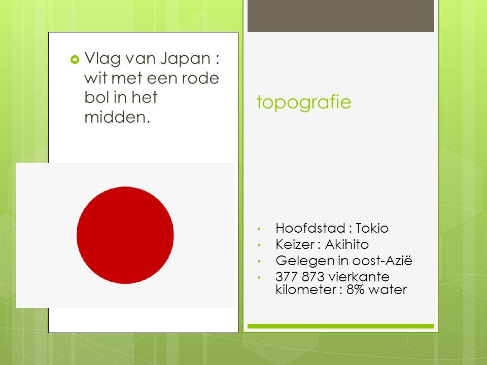 topografie Vlag van Japan : wit met een rode bol in het midden.