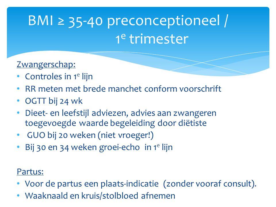 BMI ≥ 35-40 preconceptioneel / 1e trimester