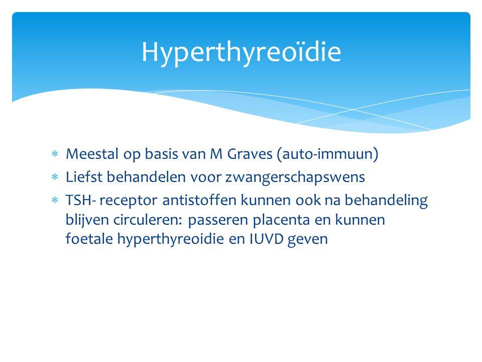 Hyperthyreoïdie Meestal op basis van M Graves (auto-immuun)