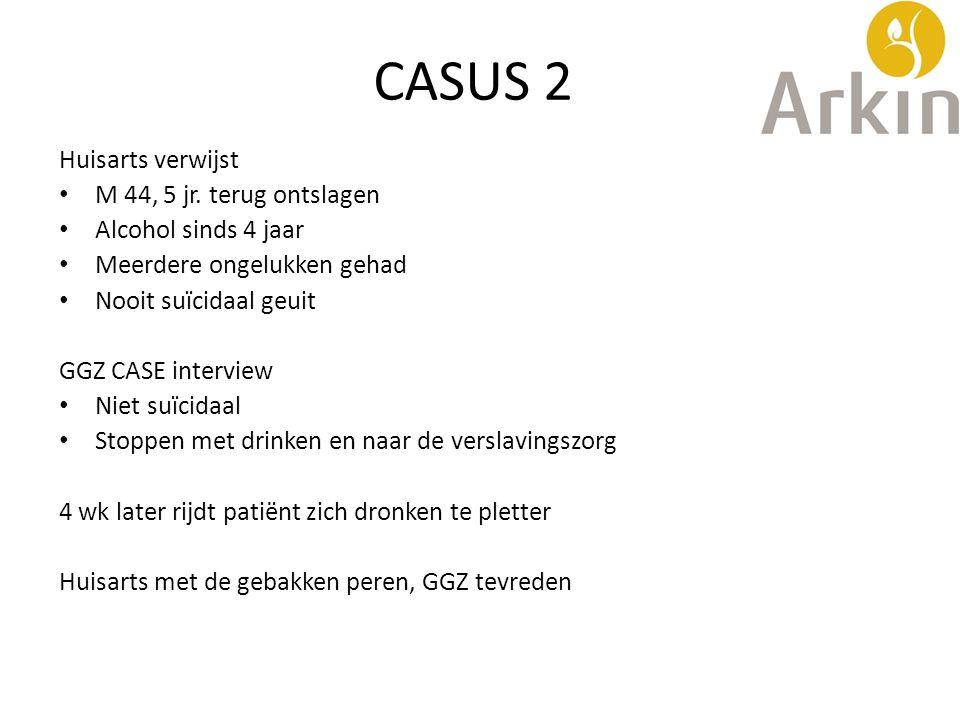 CASUS 2 Huisarts verwijst M 44, 5 jr. terug ontslagen