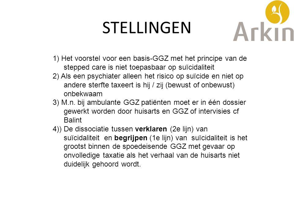 STELLINGEN 1) Het voorstel voor een basis-GGZ met het principe van de stepped care is niet toepasbaar op suïcidaliteit.