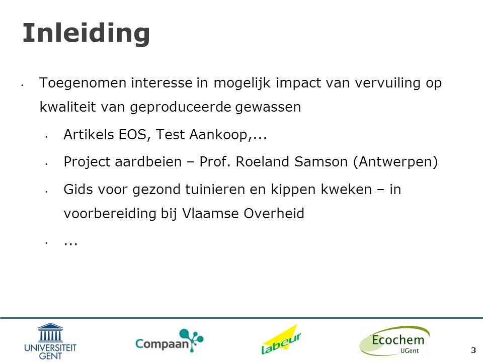 Inleiding Toegenomen interesse in mogelijk impact van vervuiling op kwaliteit van geproduceerde gewassen.