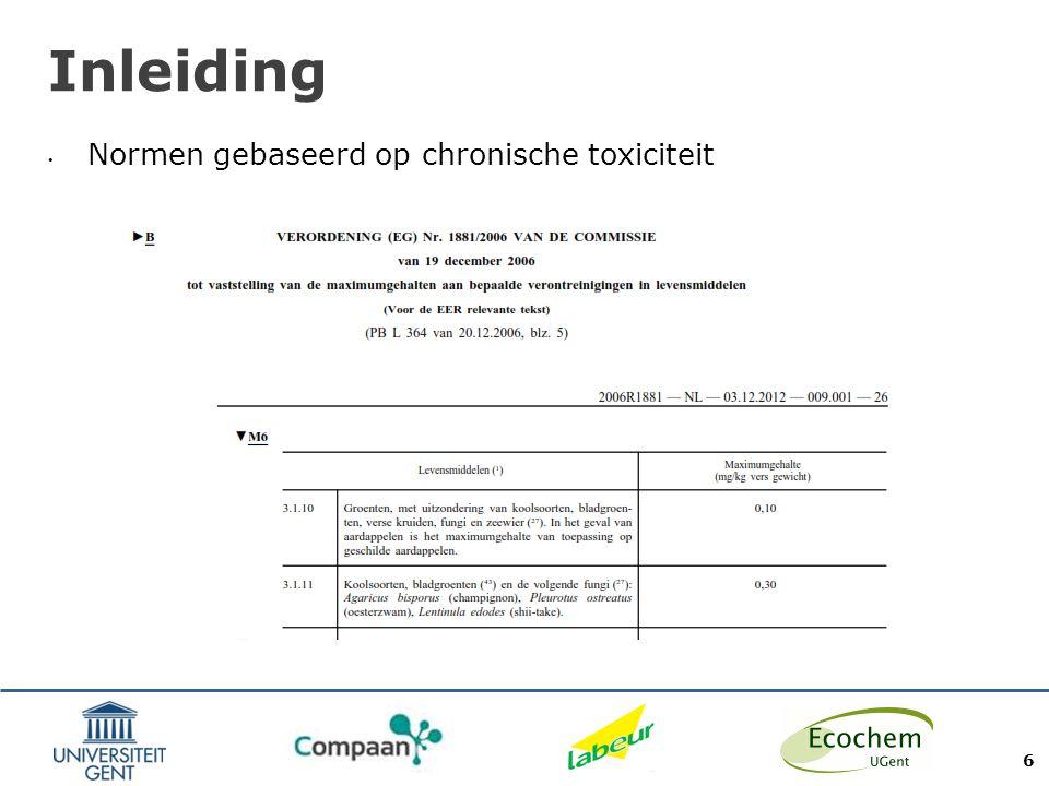 Inleiding Normen gebaseerd op chronische toxiciteit