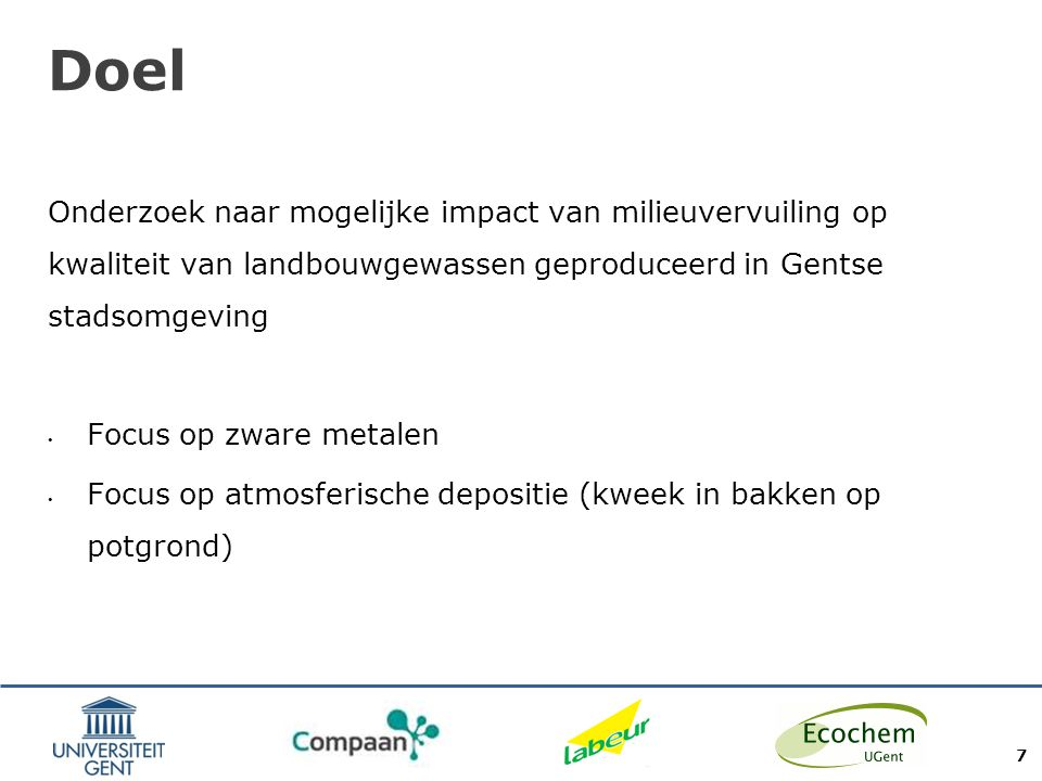 Doel Onderzoek naar mogelijke impact van milieuvervuiling op kwaliteit van landbouwgewassen geproduceerd in Gentse stadsomgeving.