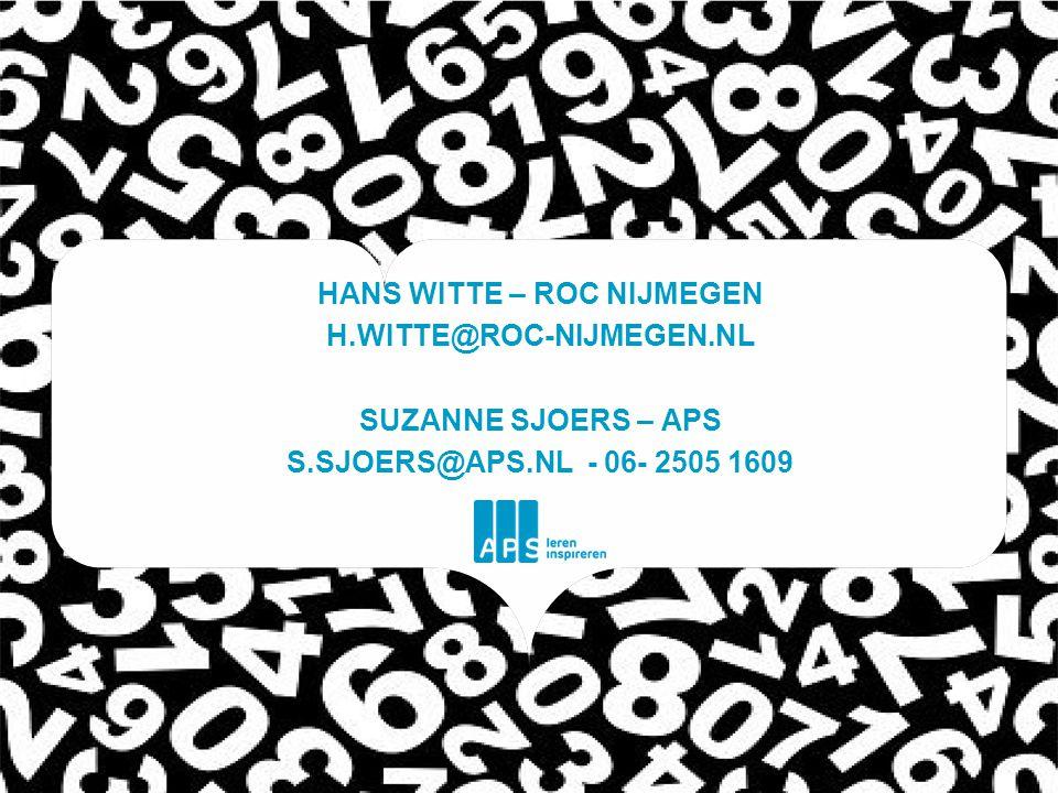 HANS WITTE – ROC NIJMEGEN H.WITTE@ROC-NIJMEGEN.NL