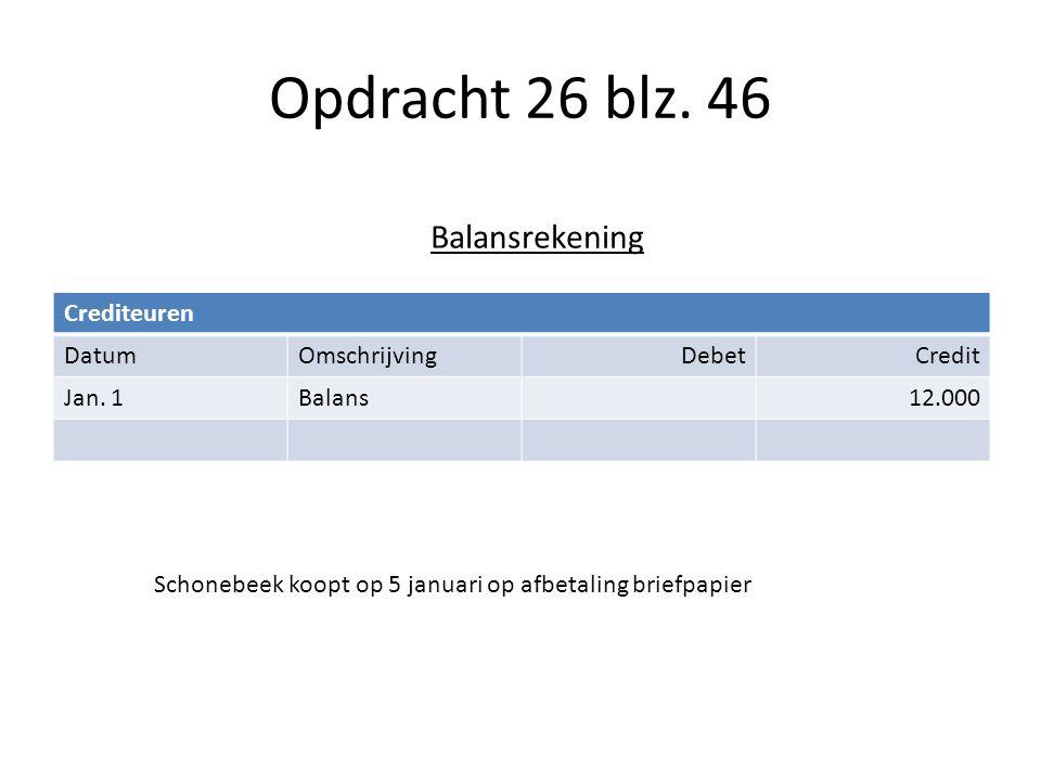 Opdracht 26 blz. 46 Balansrekening Crediteuren Datum Omschrijving