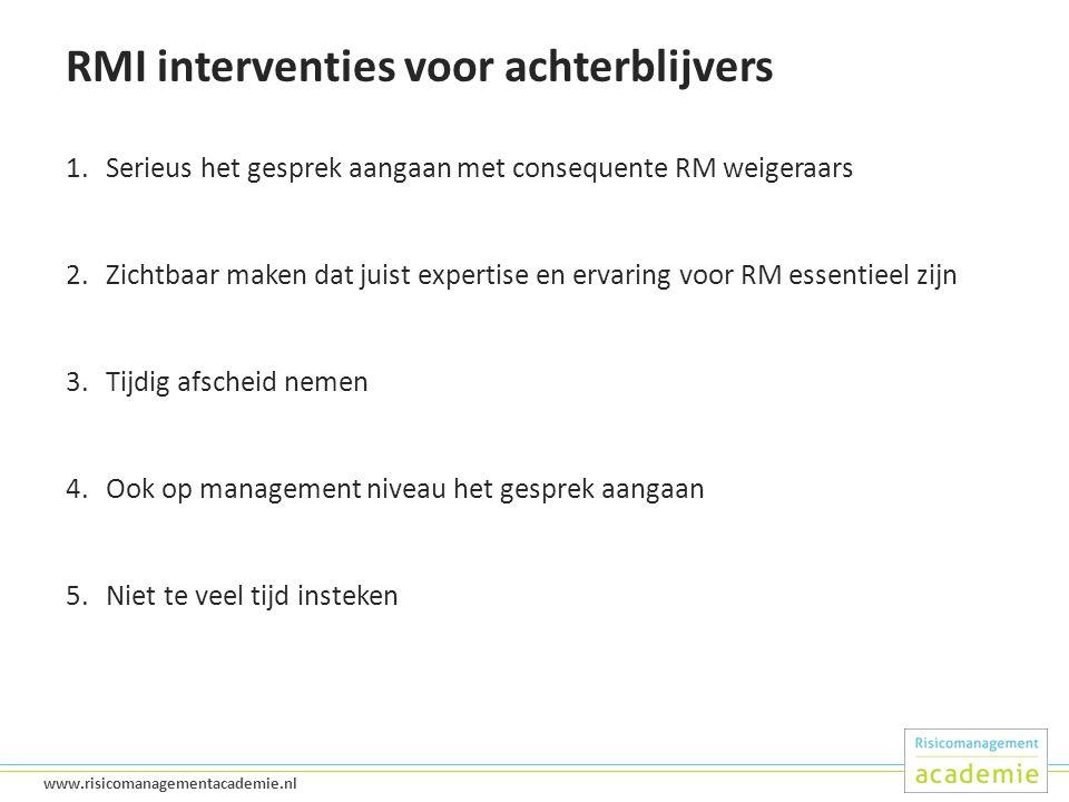 RMI interventies voor achterblijvers