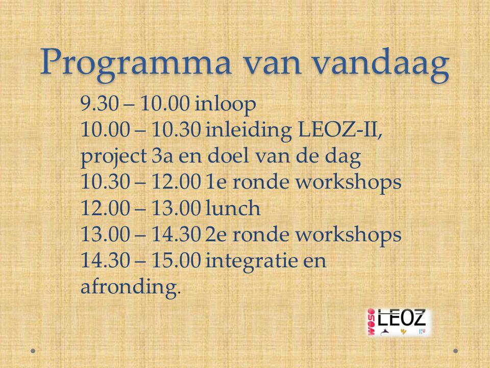 Programma van vandaag 9.30 – 10.00 inloop