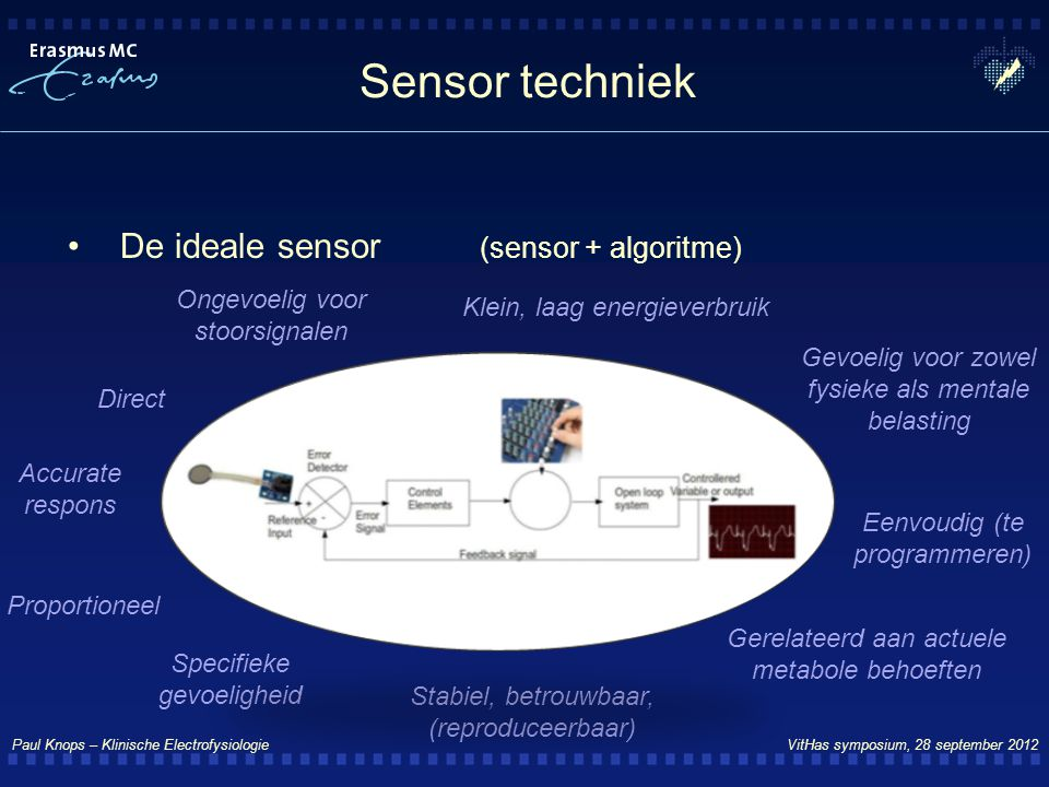 Sensor techniek De ideale sensor (sensor + algoritme)