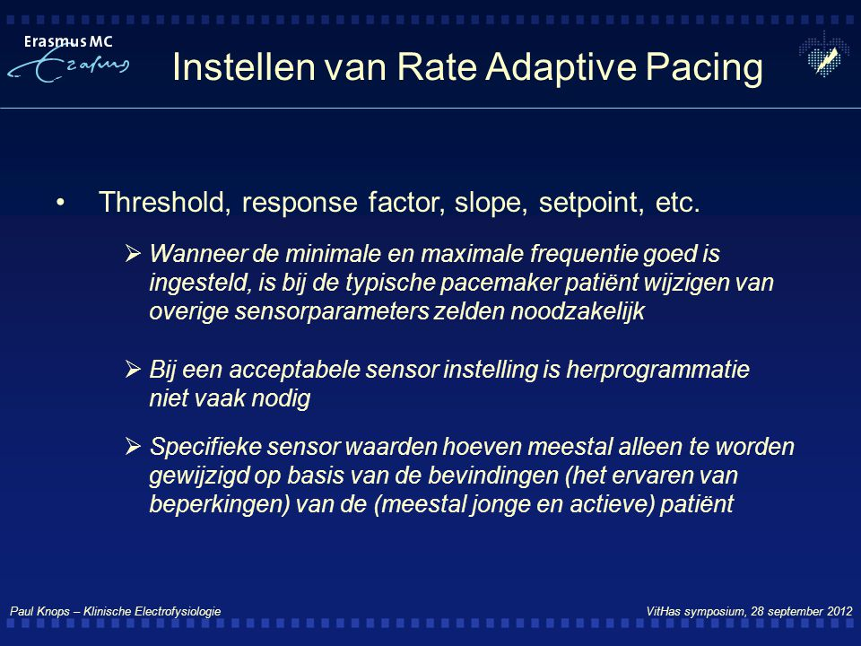 Instellen van Rate Adaptive Pacing