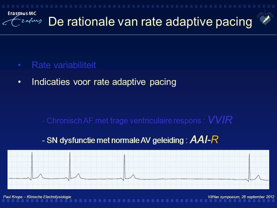 De rationale van rate adaptive pacing