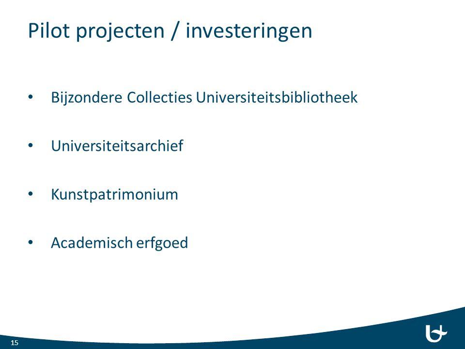 Pilot projecten / investeringen
