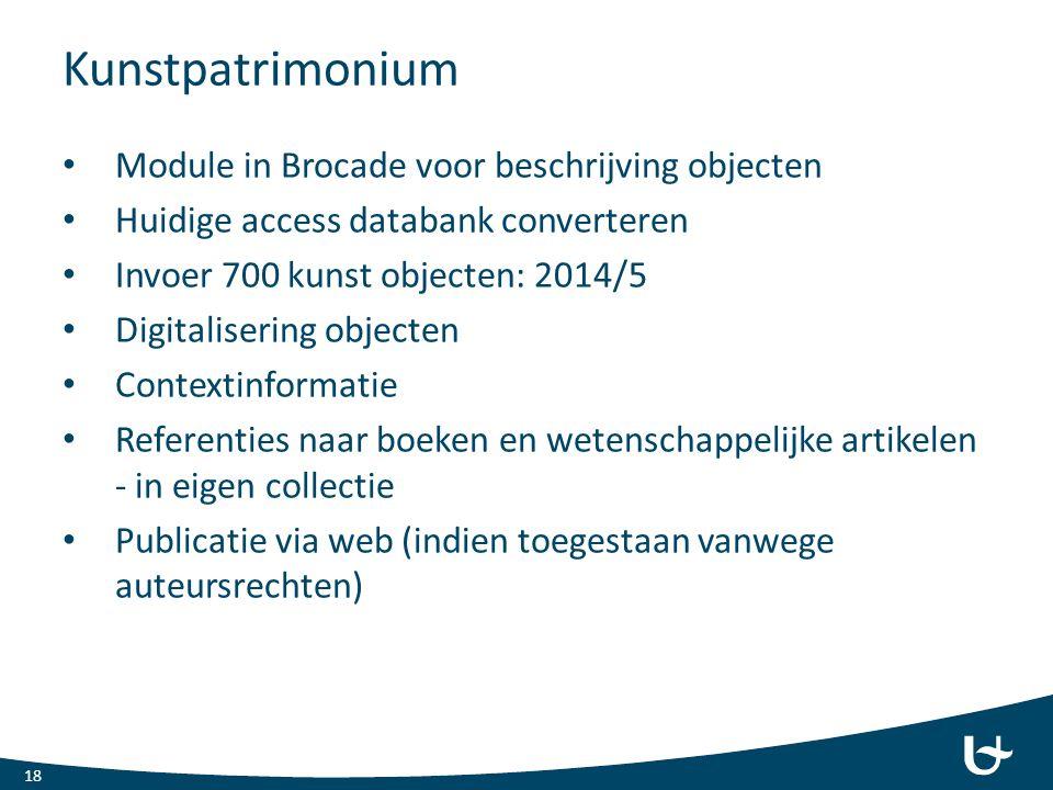 Kunstpatrimonium Module in Brocade voor beschrijving objecten