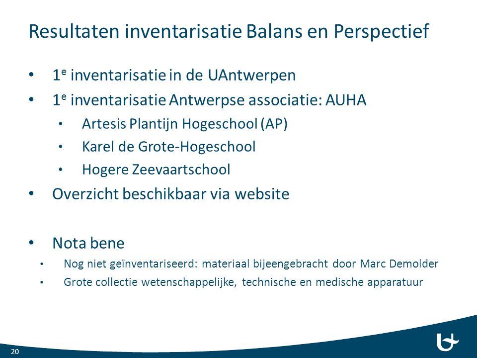 Resultaten inventarisatie Balans en Perspectief