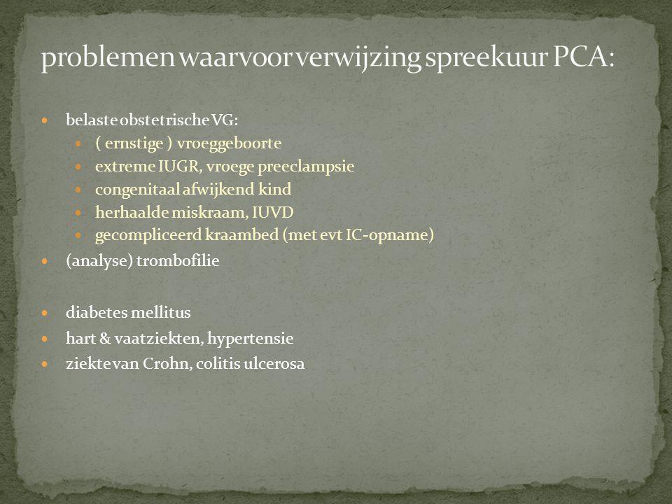 problemen waarvoor verwijzing spreekuur PCA: