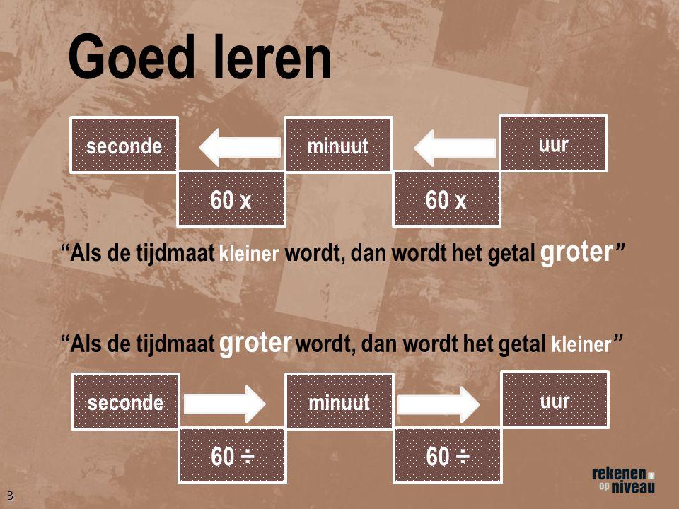 Goed leren seconde. minuut. uur. 60 x. 60 x. Als de tijdmaat kleiner wordt, dan wordt het getal groter