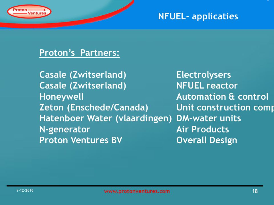 Casale (Zwitserland) Electrolysers Casale (Zwitserland) NFUEL reactor
