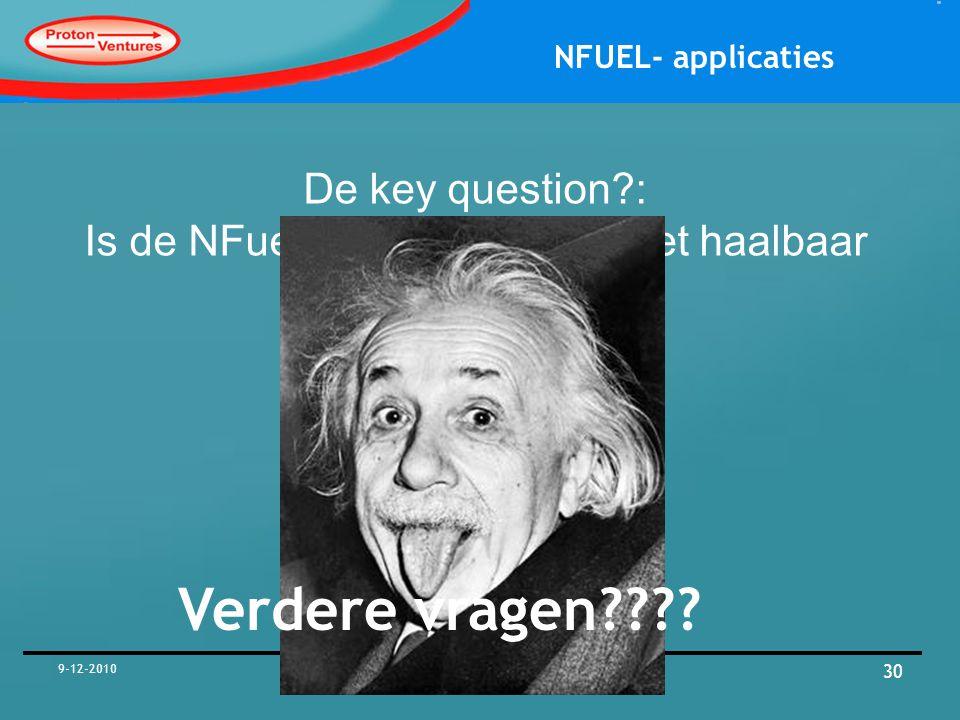De key question : Is de NFuel unit haalbaar of niet haalbaar