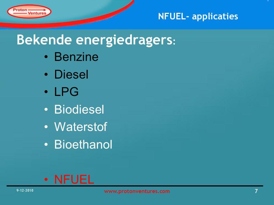 Bekende energiedragers: