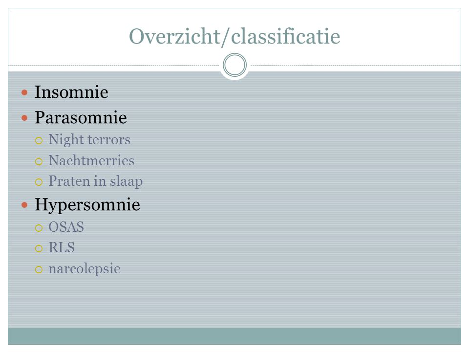 Overzicht/classificatie
