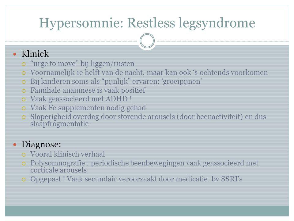Hypersomnie: Restless legsyndrome
