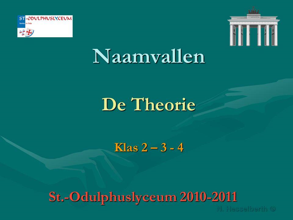 Naamvallen De Theorie Klas 2 – 3 - 4