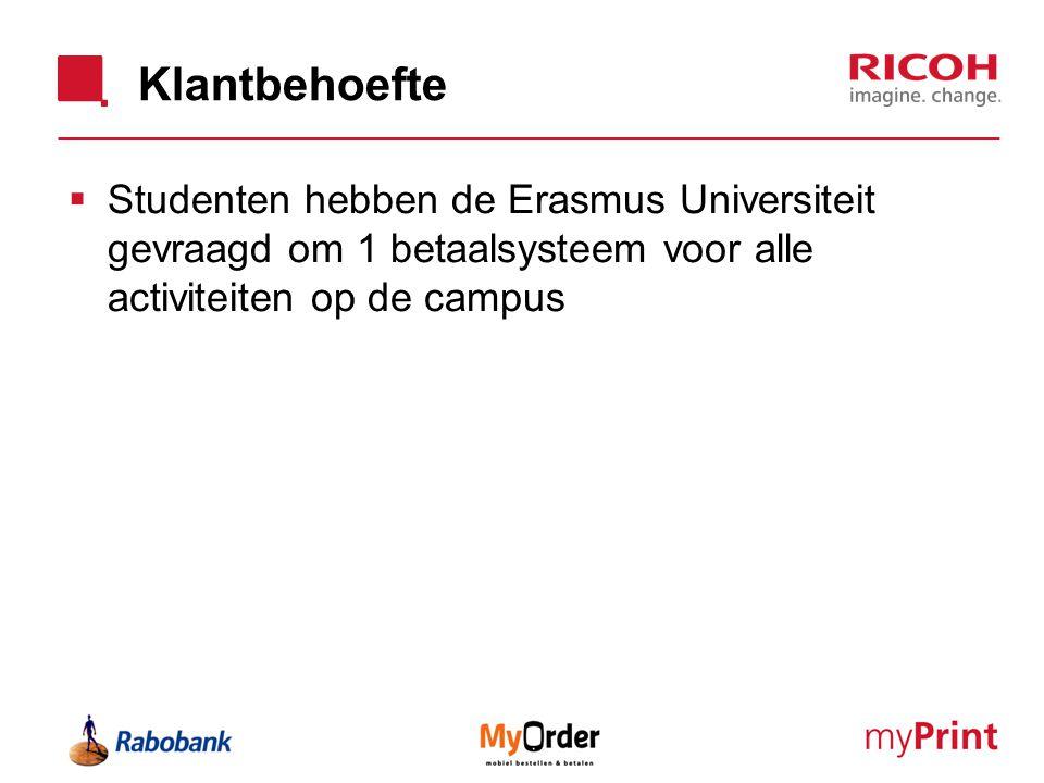Klantbehoefte Studenten hebben de Erasmus Universiteit gevraagd om 1 betaalsysteem voor alle activiteiten op de campus.