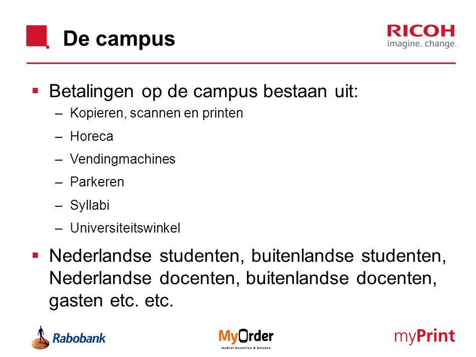 De campus Betalingen op de campus bestaan uit: