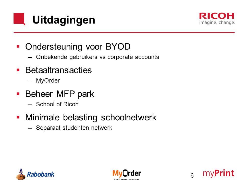 Uitdagingen Ondersteuning voor BYOD Betaaltransacties Beheer MFP park
