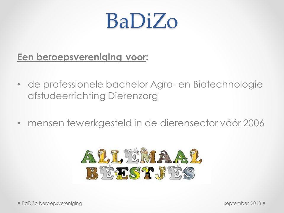 BaDiZo Een beroepsvereniging voor: