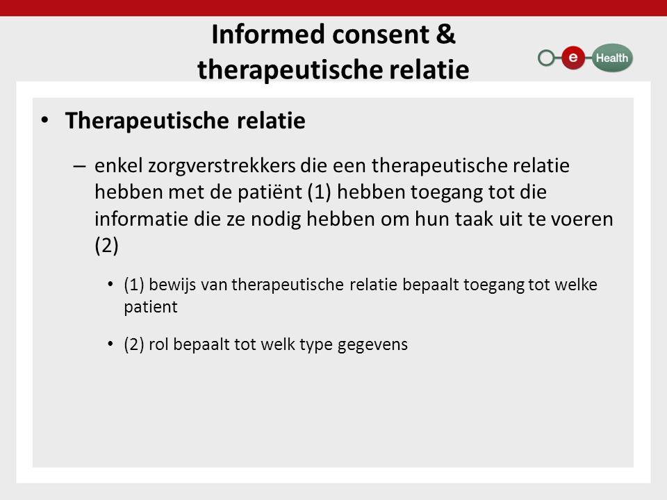 Informed consent & therapeutische relatie