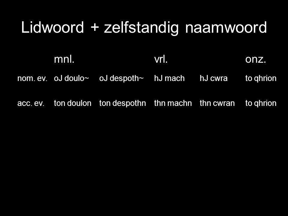 Lidwoord + zelfstandig naamwoord