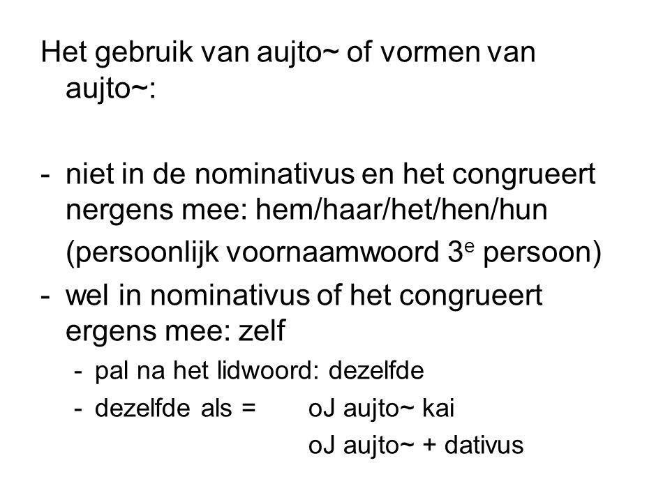 Het gebruik van aujto~ of vormen van aujto~: