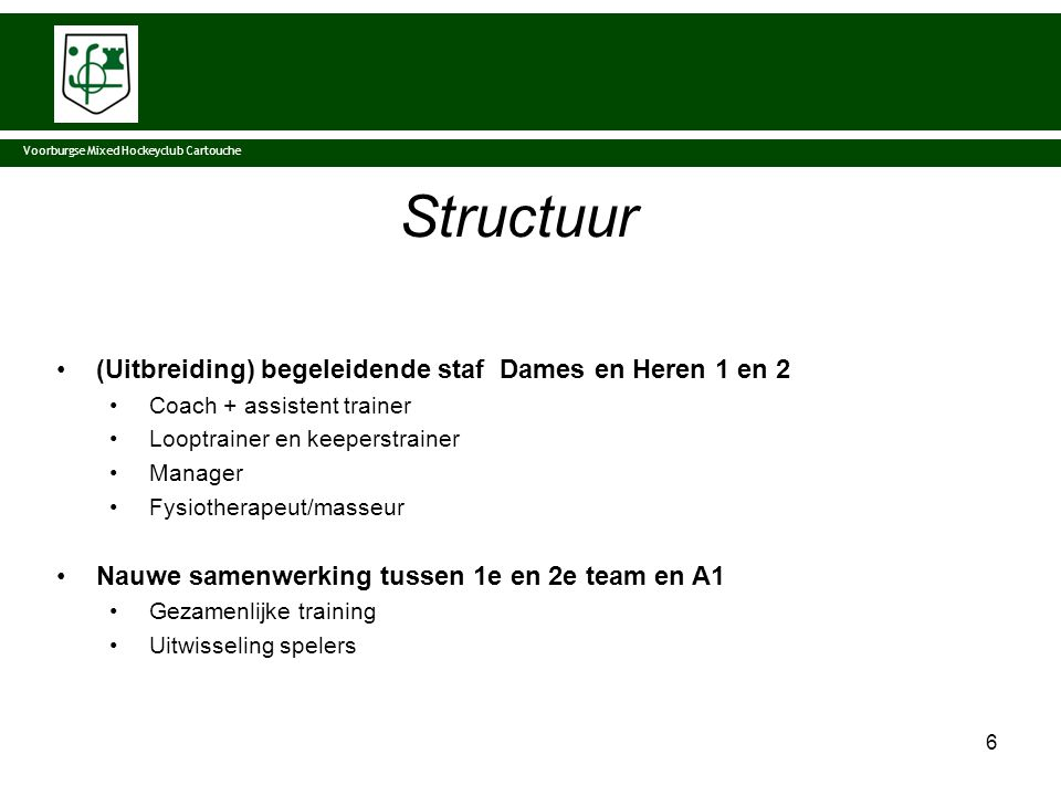 Structuur (Uitbreiding) begeleidende staf Dames en Heren 1 en 2