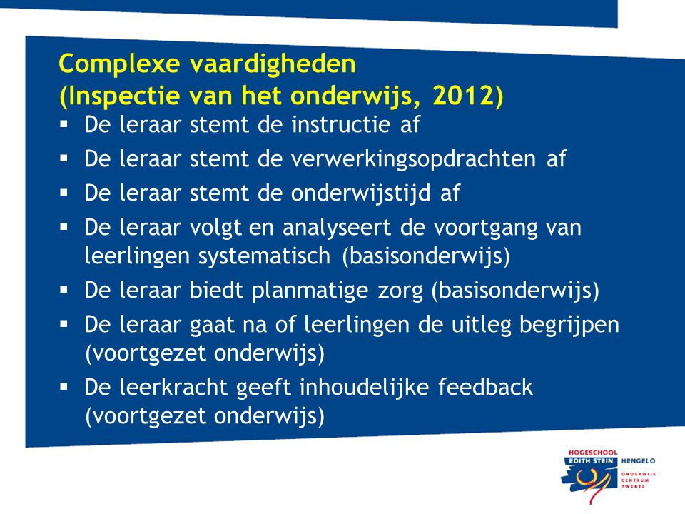 Complexe vaardigheden (Inspectie van het onderwijs, 2012)
