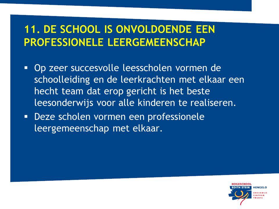 11. De school is onvoldoende een professionele leergemeenschap