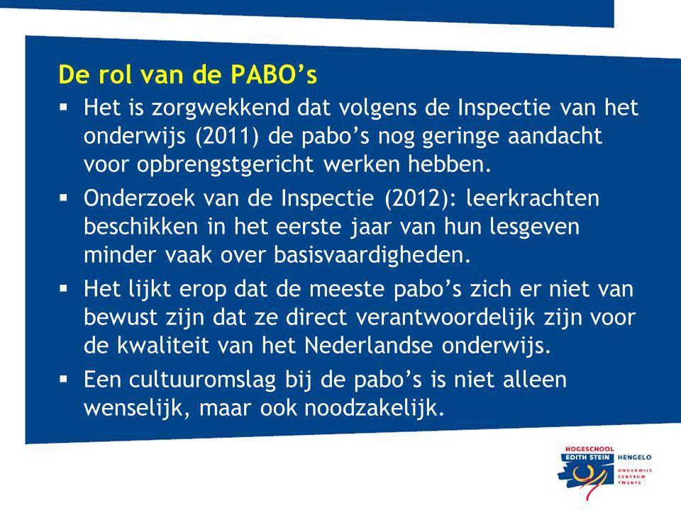 De rol van de PABO's