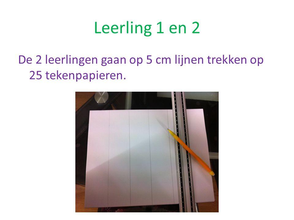 Leerling 1 en 2 De 2 leerlingen gaan op 5 cm lijnen trekken op 25 tekenpapieren.