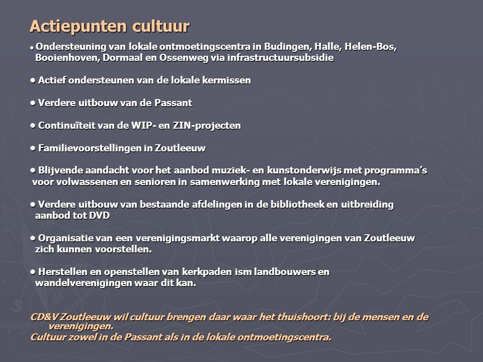 Actiepunten cultuur • Ondersteuning van lokale ontmoetingscentra in Budingen, Halle, Helen-Bos,