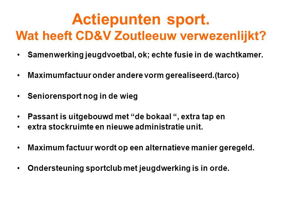 Actiepunten sport. Wat heeft CD&V Zoutleeuw verwezenlijkt