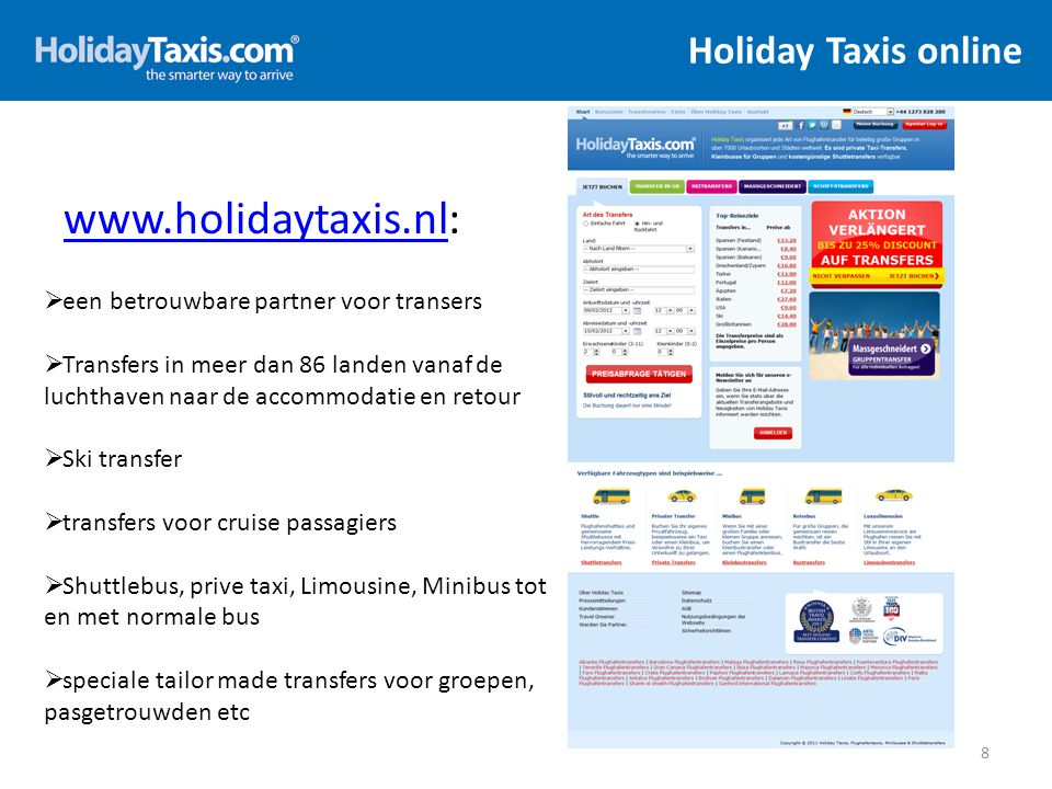 Holiday Taxis online