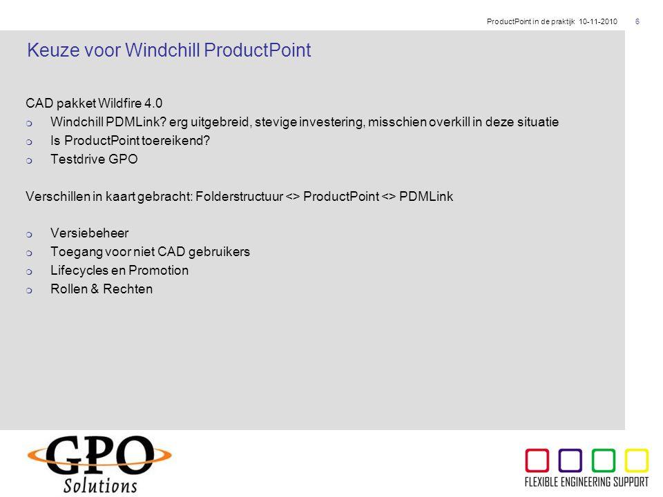 Keuze voor Windchill ProductPoint
