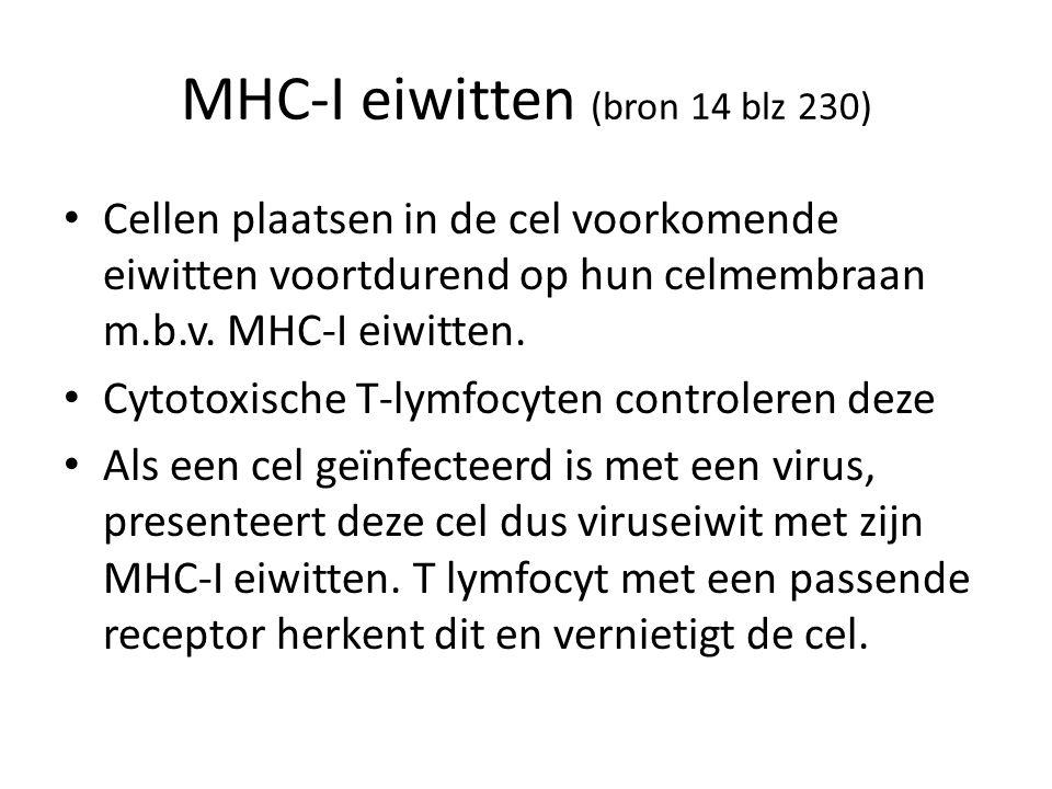 MHC-I eiwitten (bron 14 blz 230)
