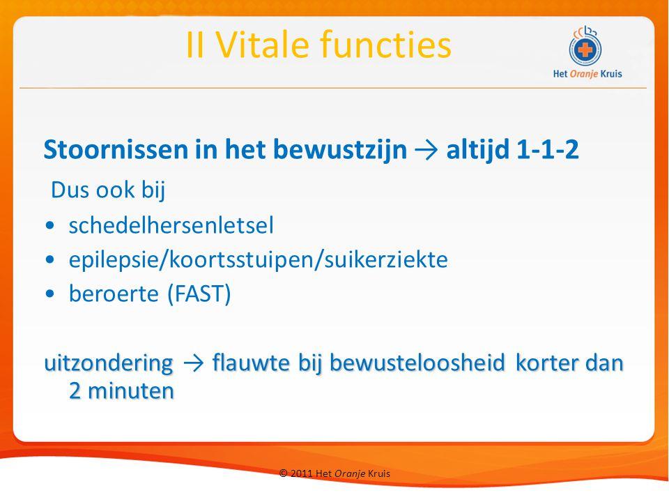 II Vitale functies Stoornissen in het bewustzijn → altijd 1-1-2